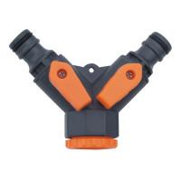 Adaptor robinet gradina - ramificatie 2 cai 1/2, 3/4