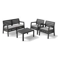 Set mobilier de gradina Delano - imitatie lemn - Grafit/ Gri-rece